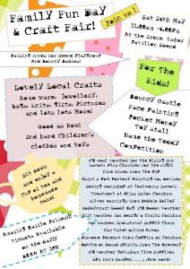 Family Fun Day & Craft Fair, Saturday 24th May.